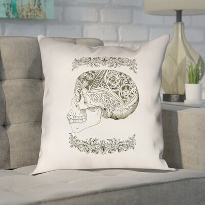 Enciso Vintage Decorative Skull Throw Pillow Size: 36 x 36, Type: Pillow Cover
