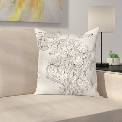 Art Floral Astrology Aquarius Square Pillow Cover Size: 24 x 24