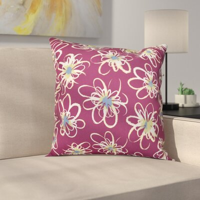 Cherry Penelope Floral Geometric Outdoor Throw Pillow Size: 18 H x 18 W, Color: Purple