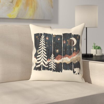 Starry Night In The Mountains Throw Pillow Size: 18 x 18