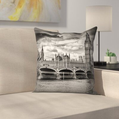 London Houses Of Parliament & Westminster Bridge Throw Pillow Size: 14 x 14