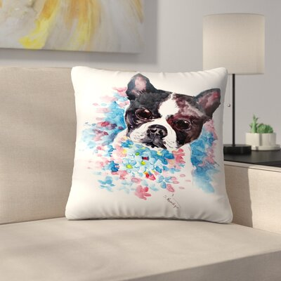 Boston Terrier Throw Pillow Size: 18 x 18
