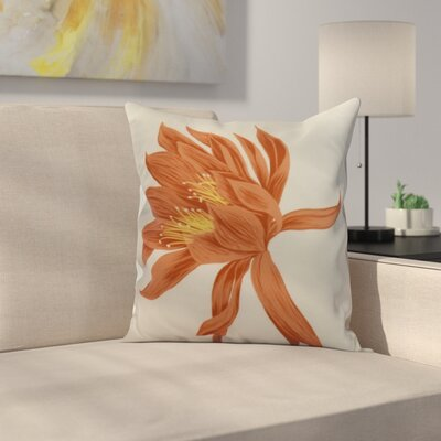Meekins Floral Print Indoor/Outdoor Throw Pillow Color: Orange, Size: 20 x 20