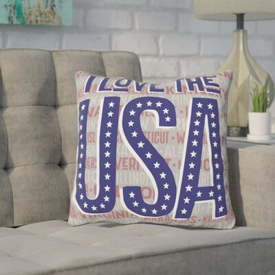 Leena I Love the USA Throw Pillow Size: 16 H x 16 W x 3 D