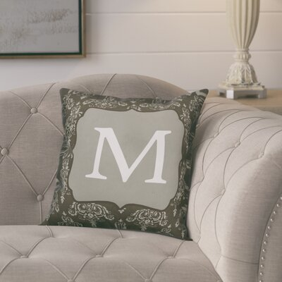 Krahn Damask�Monogram Throw Pillow Letter: M