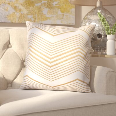 Glaucodot Thin Chevron Throw Pillow Color: Gold