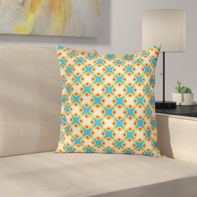 Retro Geometrical Floral Cushion Pillow Cover Size: 18 x 18