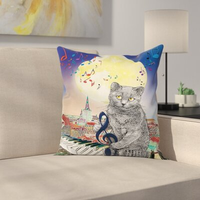 City Decor Musical Notes Cat Square Pillow Cover Size: 18 x 18