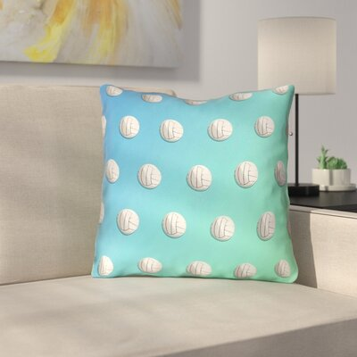 Ombre Volleyball Linen Throw Pillow Size: 16 x 16, Color: Blue/Green