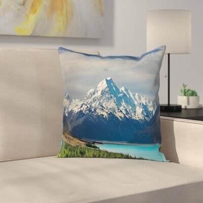 Mount Cook Pukaki Lake Square Pillow Cover Size: 16 x 16