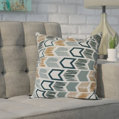 Waller Arrow Geometric Outdoor Throw Pillow Size: 18 H x 18 W, Color: Teal