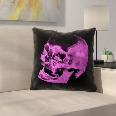 Waterproof Skull Throw Pillow Color: Purple/Black, Size: 16 x 16