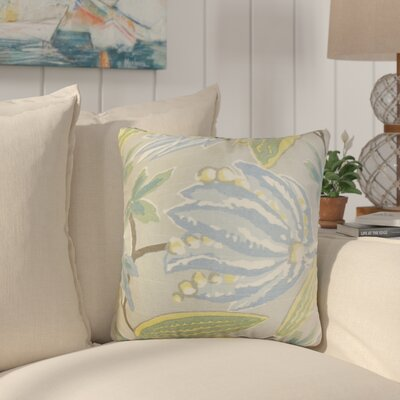 Behdad Floral Cotton Throw Pillow Color: Blue