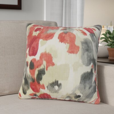 Jerica Floral Linen Throw Pillow Color: Red
