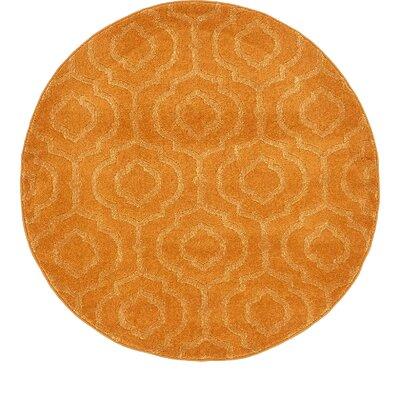Mcreynolds Trellis Orange Area Rug Rug Size: Round 4