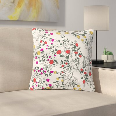 Famenxt Rose Blossom Garden Floral Outdoor Throw Pillow Size: 16 H x 16 W x 5 D