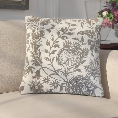 Giuseppina Floral Linen Throw Pillow Color: Charcoal