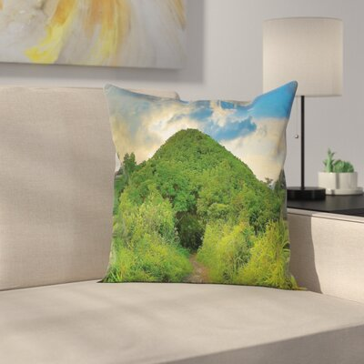 Mountain Path with Trees Square Pillow Cover Size: 18 x 18