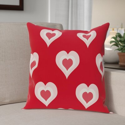 Valentines Day Outdoor Throw Pillow Size: 16 H x 16 W, Color: Red