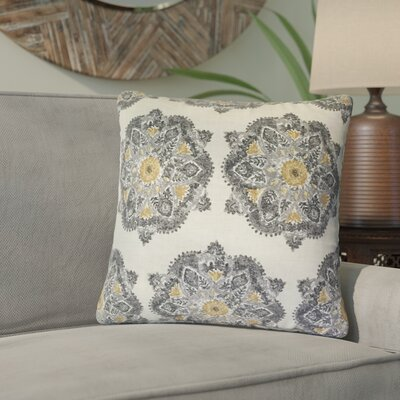 Zyana Damask Cotton Throw Pillow Color: Gray