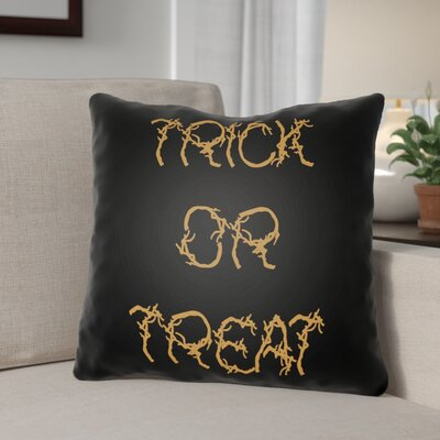 Boo Indoor/outdoor Throw Pillow Size: 18 H x 18 W x 4 D, Color: Black / Orange