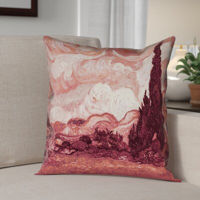 Lapine Wheatfield with Cypresses Indoor Pillow Cover Color: Red, Size: 18 x 18