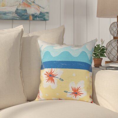Golden Beach Floral Outdoor Throw Pillow Size: 20 H x 20 W, Color: Yellow