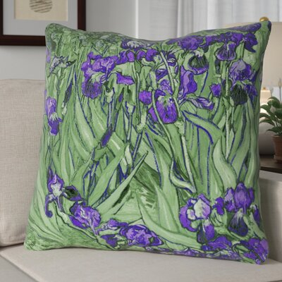 Morley Irises Square Euro Pillow Color: Green/Purple