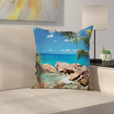 Palm Tree Coastline Square Pillow Cover Size: 16 x 16