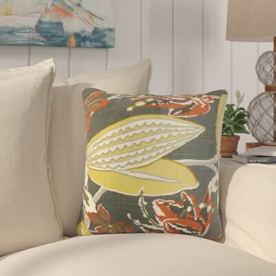 Bryleigh Floral Cotton Throw Pillow Color: Storm, Size: 20 x 20
