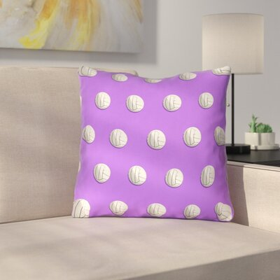 Volleyball Outdoor Throw Pillow Size: 18 x 18, Color: Purple