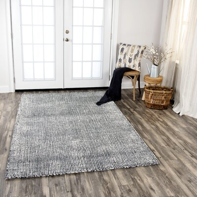 Hover Hand-Tufted Wool Black Area Rug Rug Size: Rectangle 5 x 8