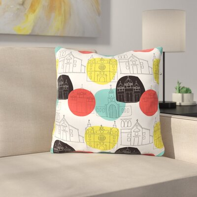 Cartagena Churches by MaJoBV Throw Pillow Size: 16 H x 16 W