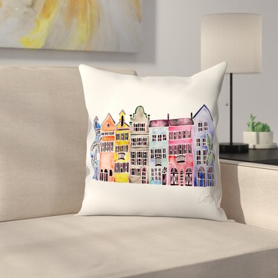 Rainbow Row Throw Pillow Size: 18 x 18