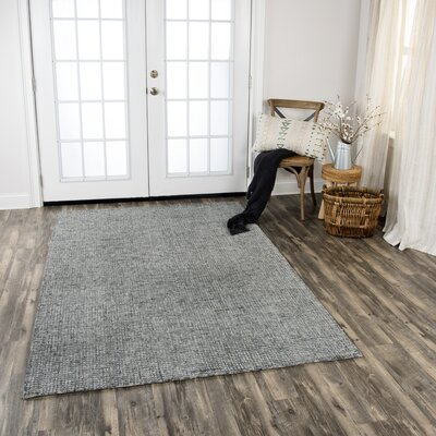 Hover Hand-Tufted Wool Dark Gray Area Rug Rug Size: Rectangle 5 x 8