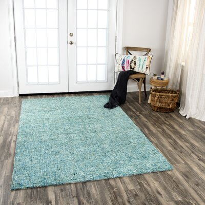 Hover Hand-Tufted Wool Teal Area Rug Rug Size: Rectangle 8 x 11