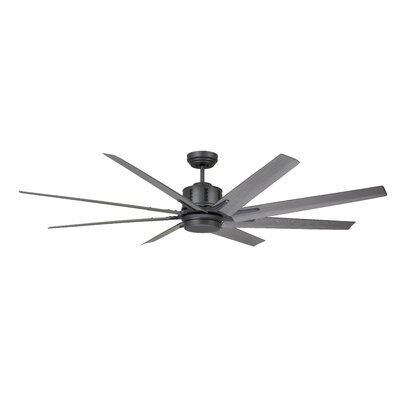 72 Shayna 8 Blade LED Indoor/Outdoor Ceiling Fan Finish: Brushed Steel with Walnut Blades
