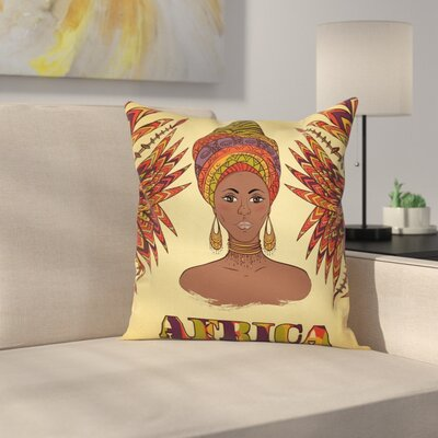 African Turban Palms Cultural Cushion Pillow Cover Size: 18 x 18