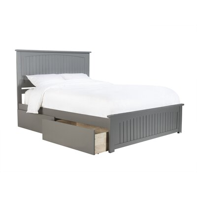 White Queen Platform Bed with 2 Urban Drawers
