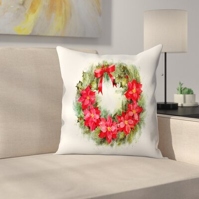 Poinsettia Wreath Color Throw Pillow Size: 18 x 18