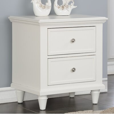Ellingsworth 2 Drawer Nightstand Color: White