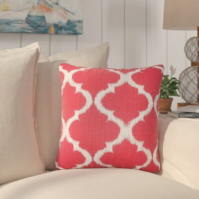 Berman Geometric Cotton Throw Pillow Color: Cherry