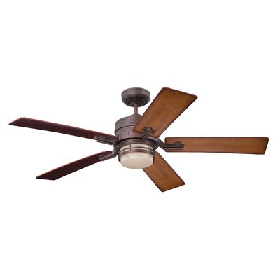 54 Hamman 5 Blade LED Ceiling Fan Finish: Venetian Bronze with Dark Cherry/Honey Oak