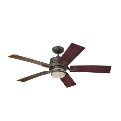 54 Hamman 5 Blade LED Ceiling Fan Finish: Vintage Steel with Riverwash/Walnut