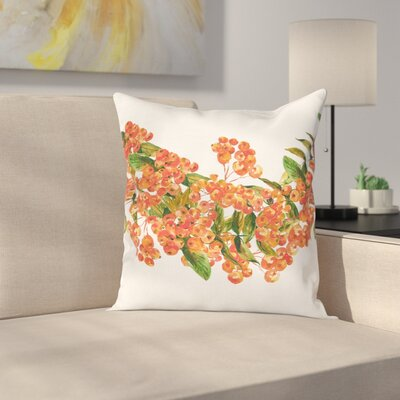 Border Full of Berries Square Pillow Cover Size: 16 x 16