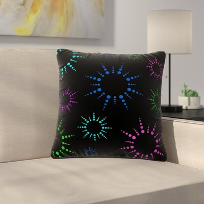 NL Designs Rainbow Fireworks Pattern Outdoor Throw Pillow Color: Black, Size: 16 H x 16 W x 5 D
