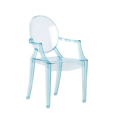 Bryer Transparent Dining Chair Color: Blue, Size: 25 H x 15 W x 14 D