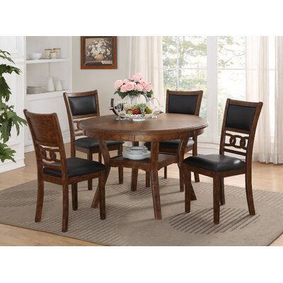 Jackins 5 Piece Dining Set Table Color: Brown, Chair Color: Brown/Black