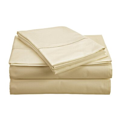 Crumbley 300 Thread Count 100% Cotton Sheet Set Size: Full, Color: Ivory