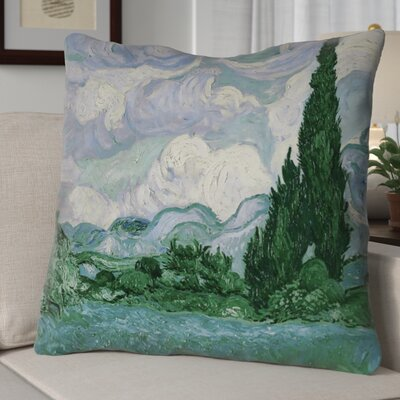 Meredosia Wheat Field with Cypresses Faux Linen Euro Pillow Color: Blue/Green